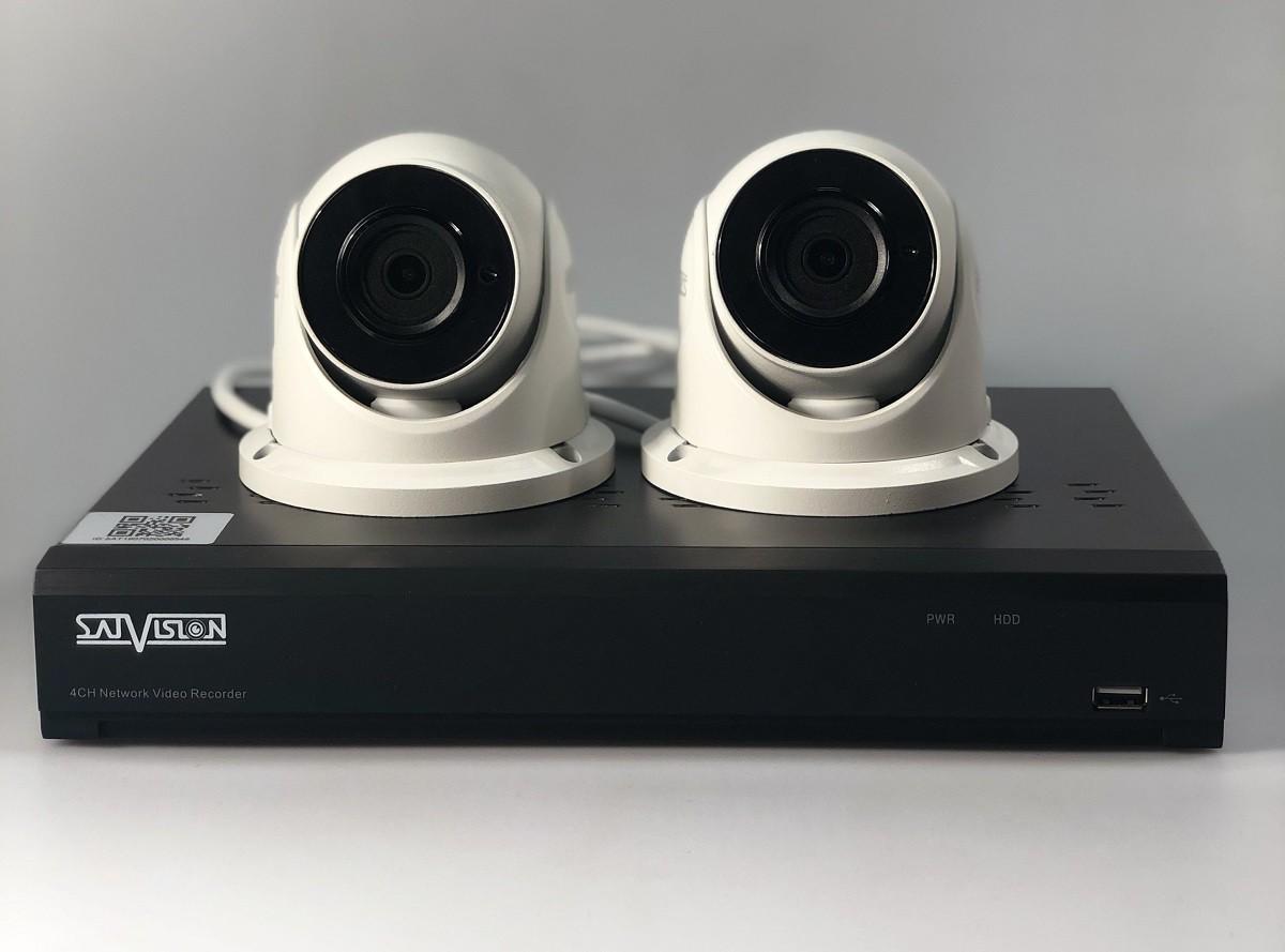 Комплект 2-х купольных IP-видеокамер с видеорегистратором Satvision SVI-D223A SD